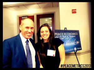 Steve Killelea, founder of the Institute for Economics and Peace, and Talia Hagerty at the recent Peace Metrics conference in D.C.